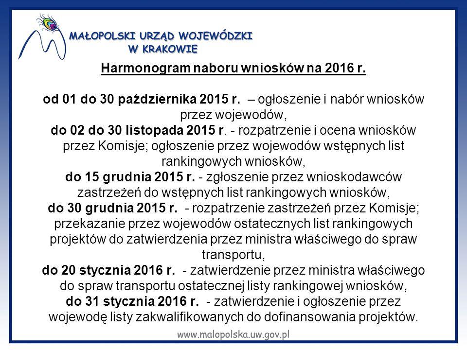 Harmonogram naboru wniosków na 2016 r. od 01 do 30 października 2015 r