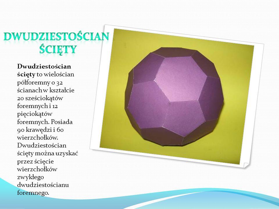Dwudziestościan ścięty to wielościan półforemny o 32 ścianach w kształcie 20 sześciokątów foremnych i 12 pięciokątów foremnych.