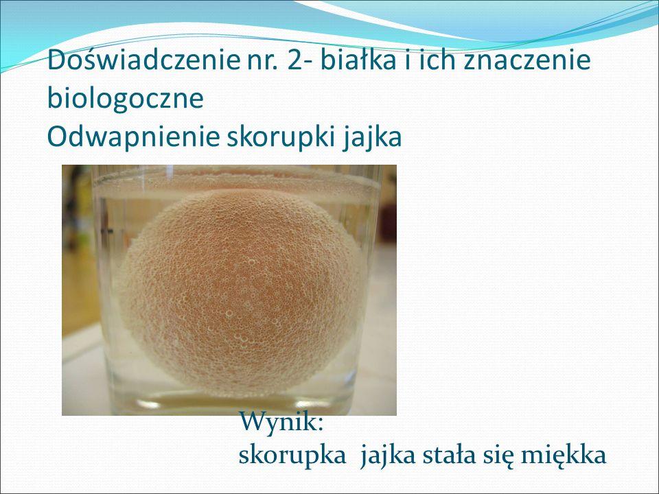 Doświadczenie nr. 2- białka i ich znaczenie biologoczne Odwapnienie skorupki jajka