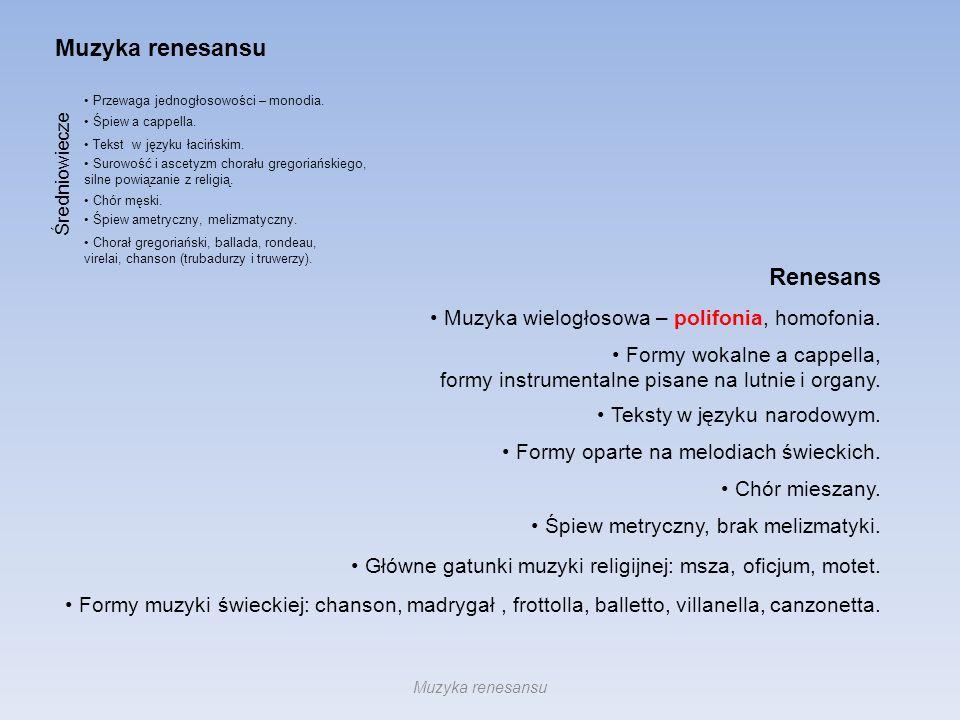 Muzyka renesansu Renesans Muzyka wielogłosowa – polifonia, homofonia.