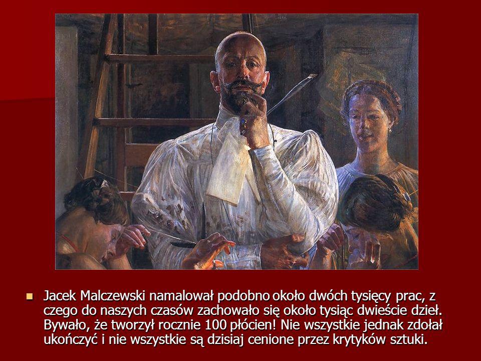 Jacek Malczewski namalował podobno około dwóch tysięcy prac, z czego do naszych czasów zachowało się około tysiąc dwieście dzieł.