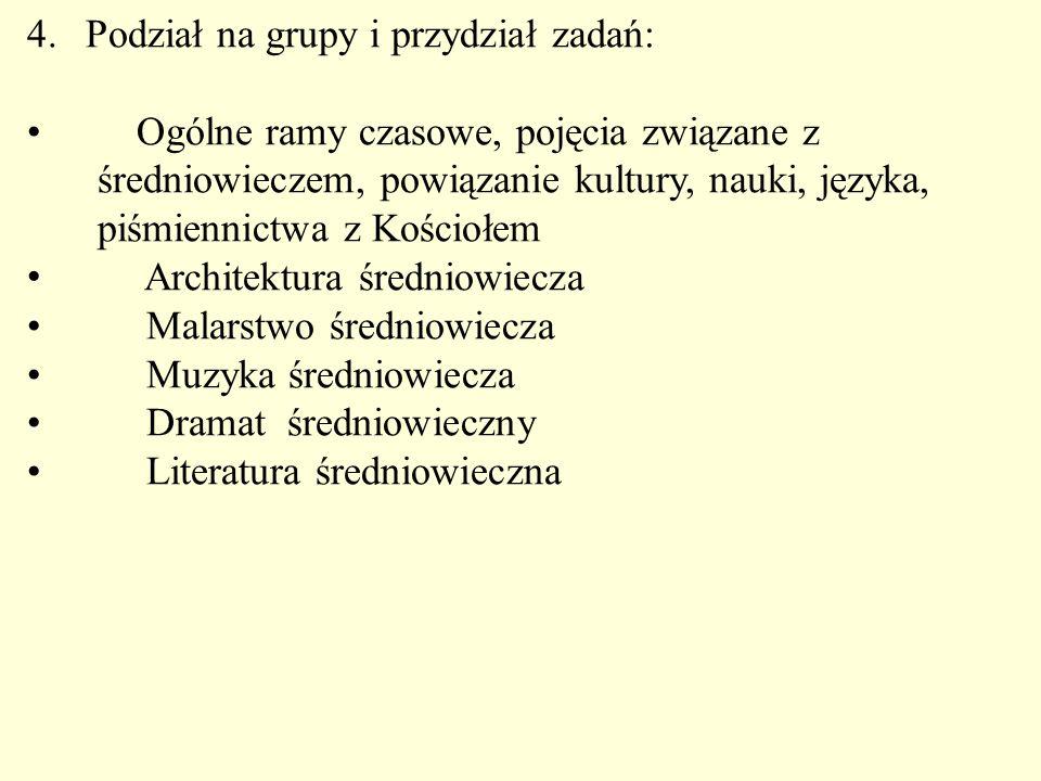 Podział na grupy i przydział zadań: