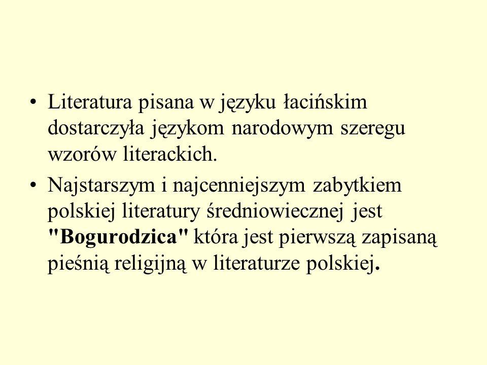 Literatura pisana w języku łacińskim dostarczyła językom narodowym szeregu wzorów literackich.
