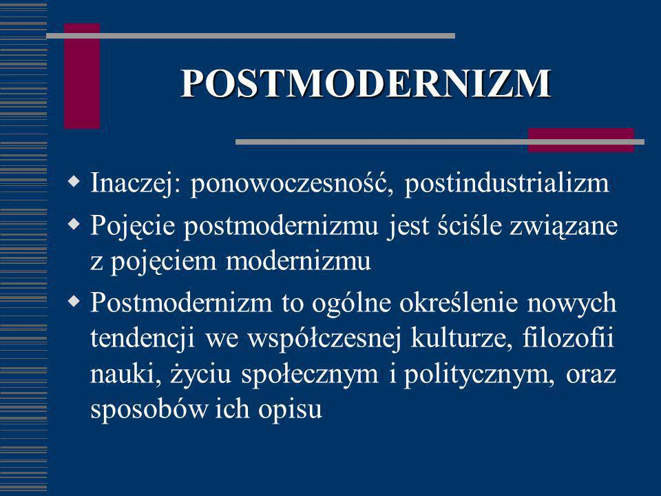 POSTMODERNIZM Inaczej: ponowoczesność, postindustrializm