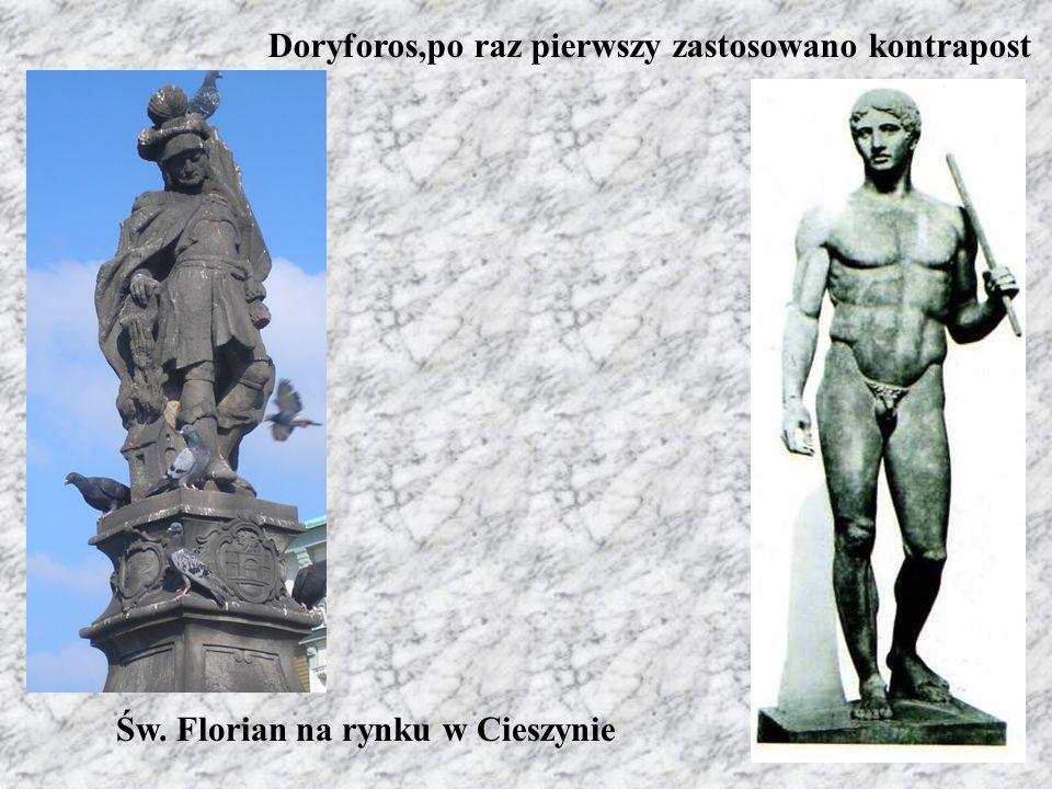 Doryforos,po raz pierwszy zastosowano kontrapost