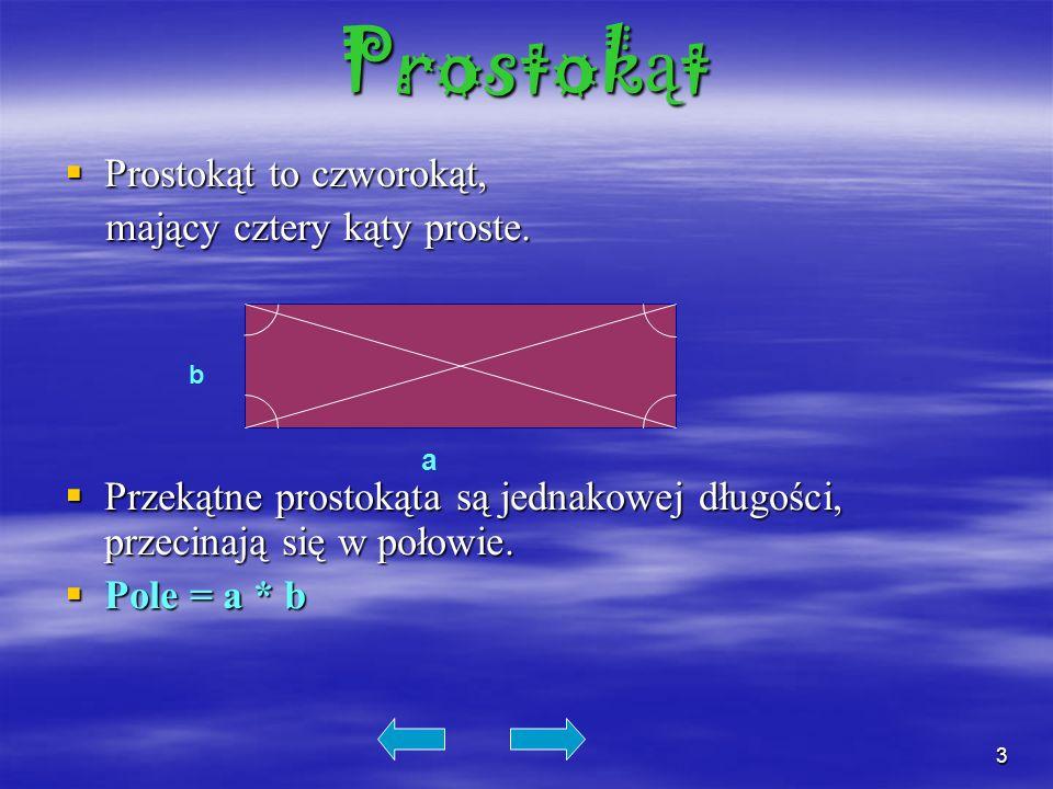 Prostokąt Prostokąt to czworokąt, mający cztery kąty proste.