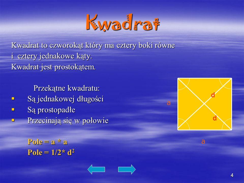 Kwadrat Kwadrat to czworokąt który ma cztery boki równe