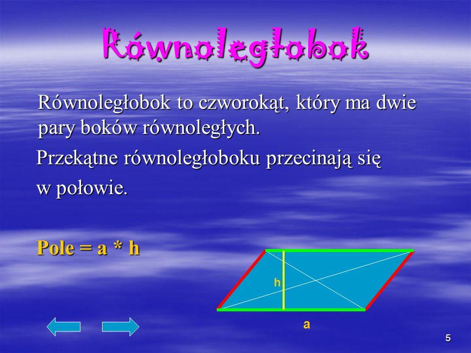 Równoległobok Równoległobok to czworokąt, który ma dwie pary boków równoległych. Przekątne równoległoboku przecinają się.
