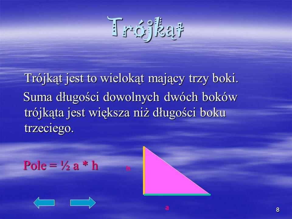 Trójkąt Trójkąt jest to wielokąt mający trzy boki.