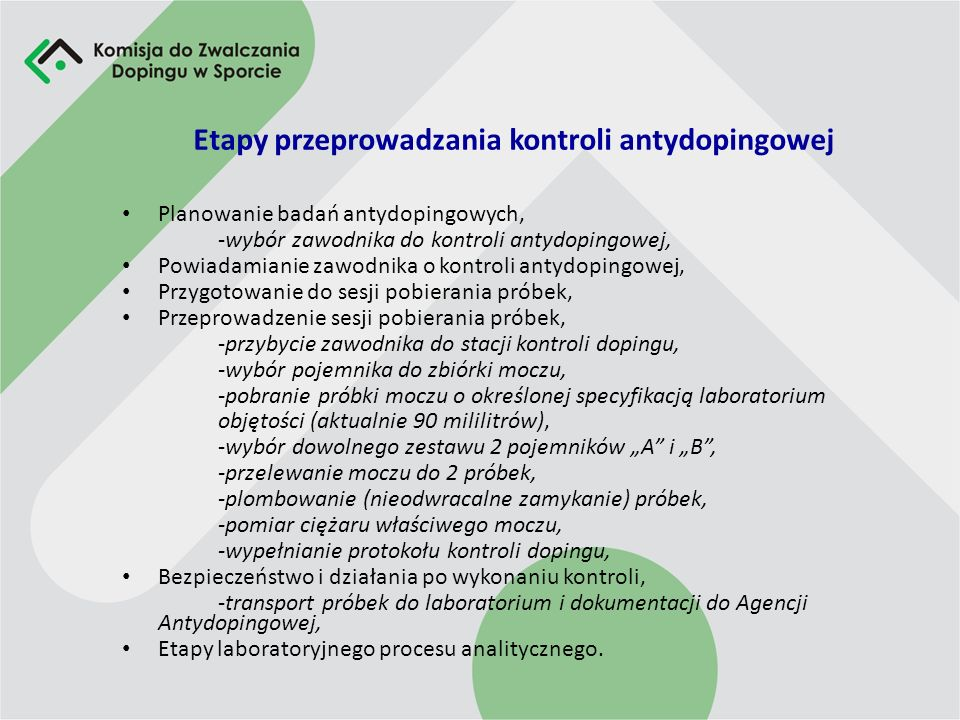 Etapy przeprowadzania kontroli antydopingowej