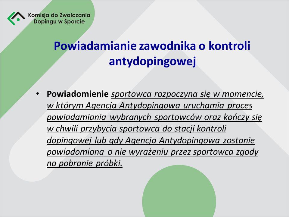 Powiadamianie zawodnika o kontroli antydopingowej