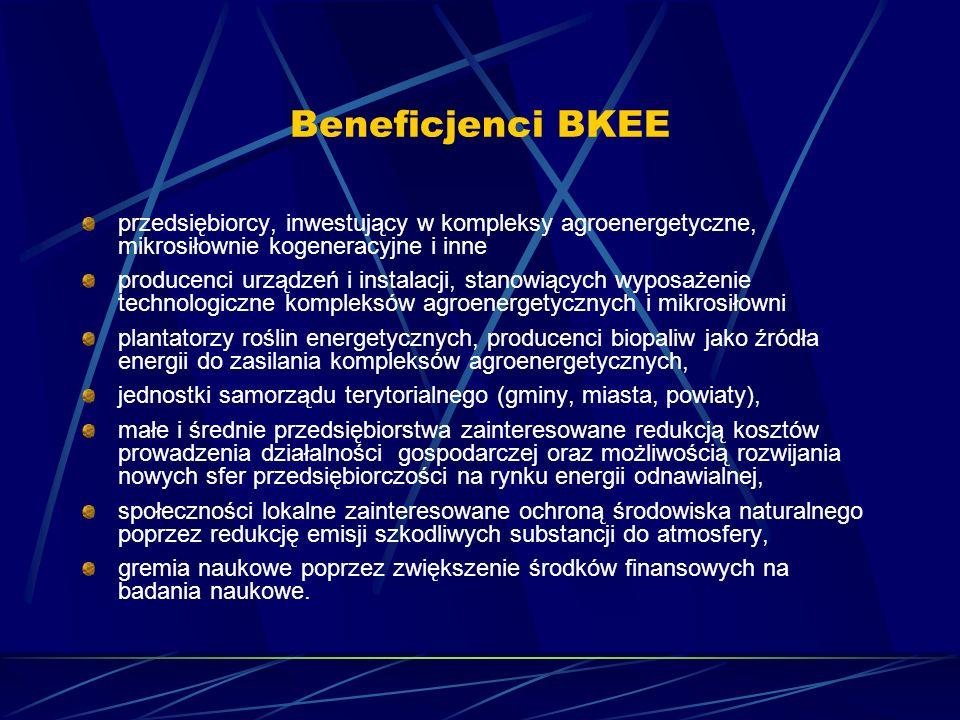 Beneficjenci BKEE przedsiębiorcy, inwestujący w kompleksy agroenergetyczne, mikrosiłownie kogeneracyjne i inne.