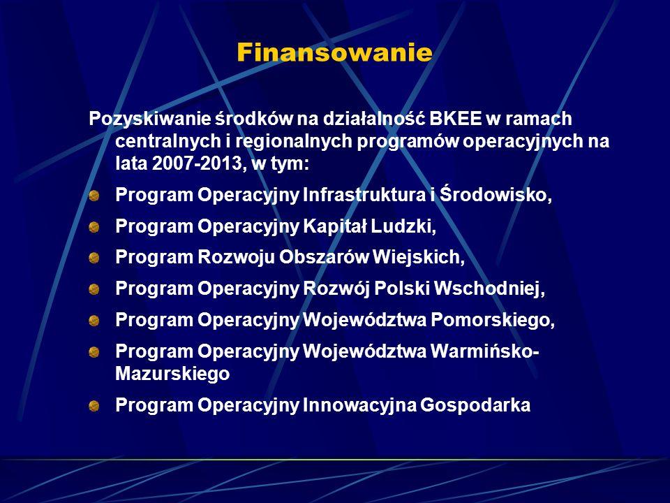 Finansowanie Pozyskiwanie środków na działalność BKEE w ramach centralnych i regionalnych programów operacyjnych na lata 2007-2013, w tym: