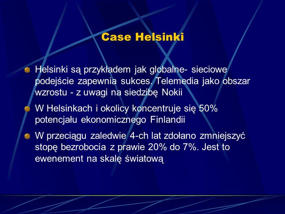 Case Helsinki Helsinki są przykładem jak globalne- sieciowe podejście zapewnia sukces. Telemedia jako obszar wzrostu - z uwagi na siedzibę Nokii.