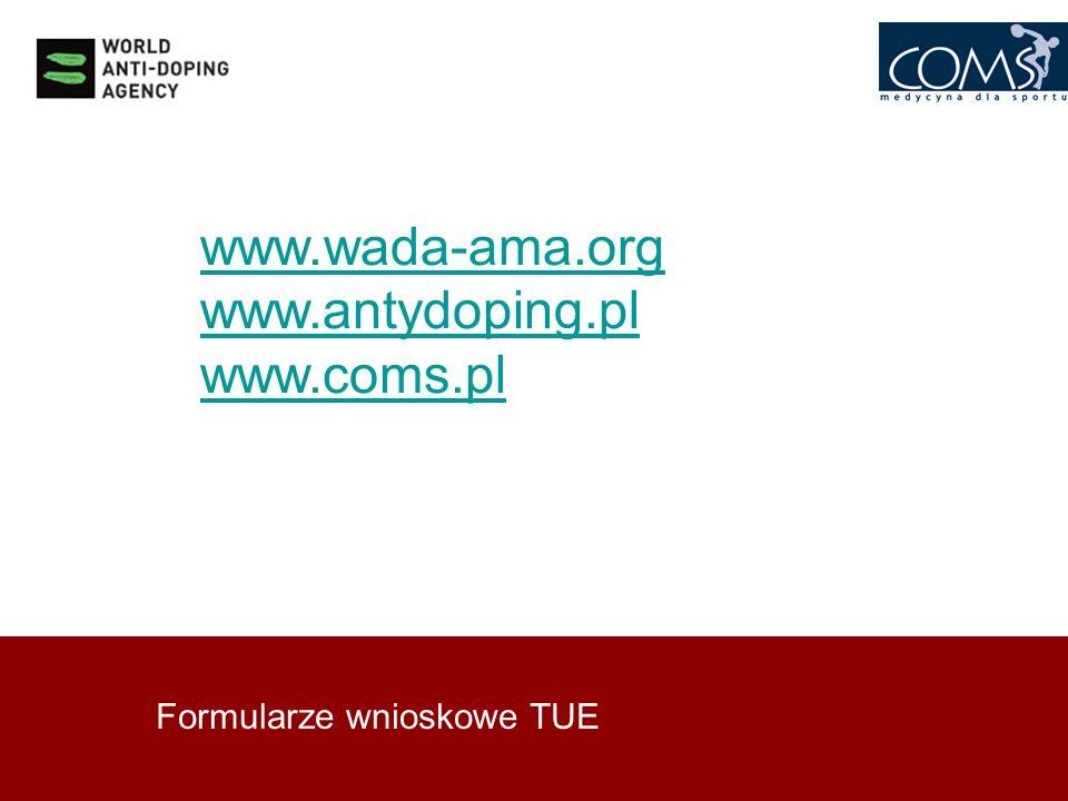 www.wada-ama.org www.antydoping.pl www.coms.pl