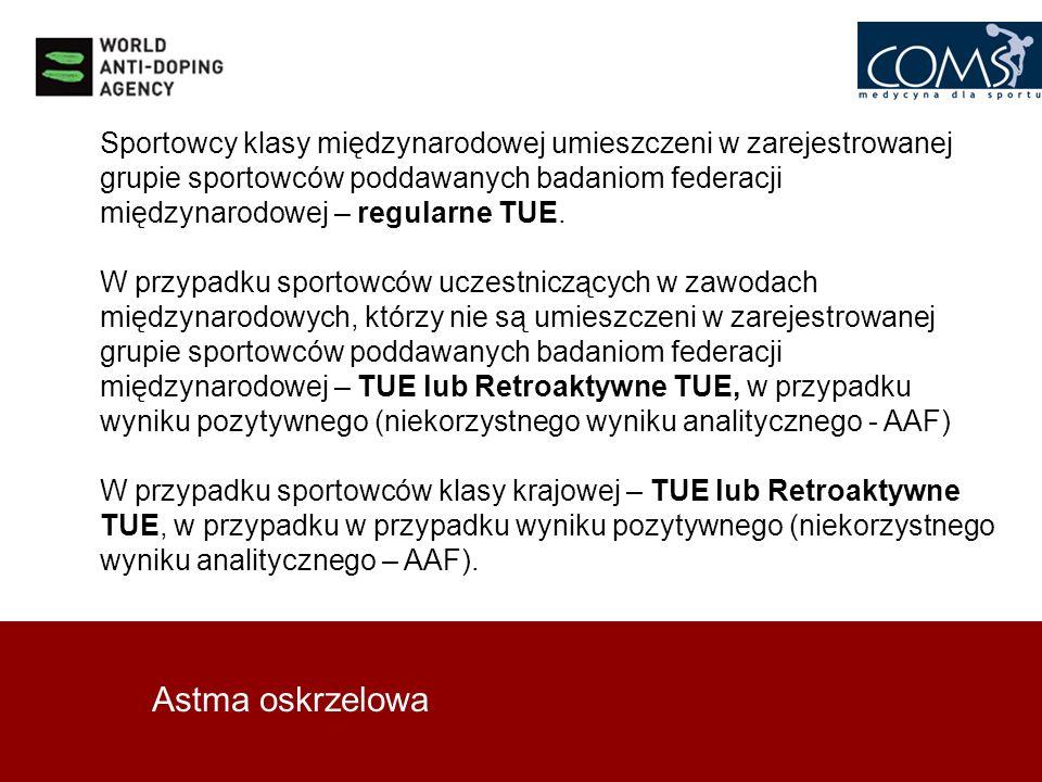 Sportowcy klasy międzynarodowej umieszczeni w zarejestrowanej grupie sportowców poddawanych badaniom federacji międzynarodowej – regularne TUE.