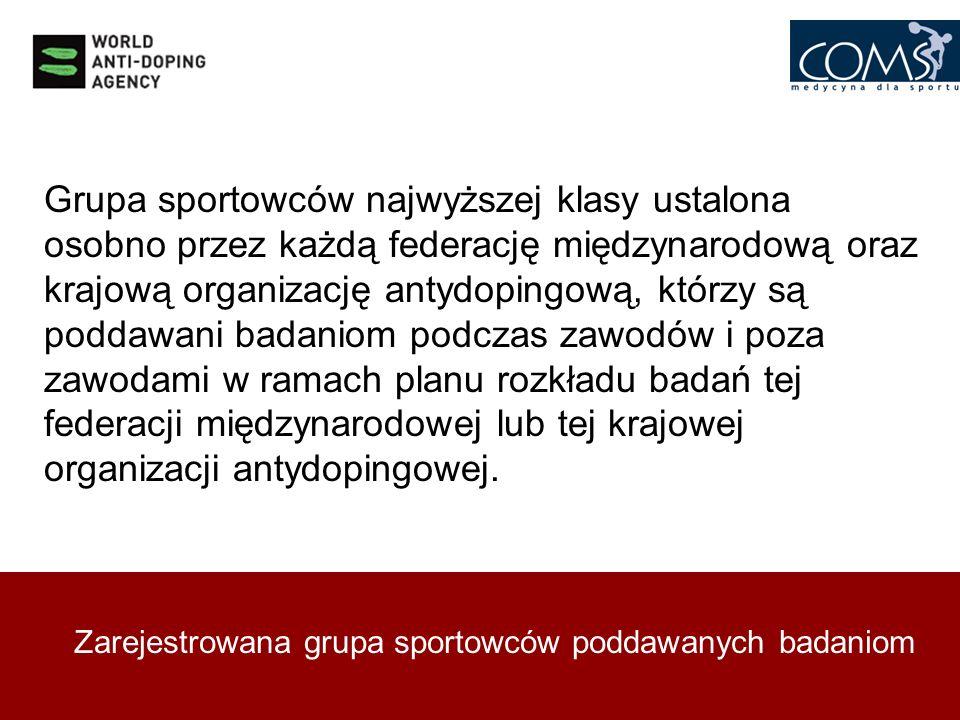 Grupa sportowców najwyższej klasy ustalona osobno przez każdą federację międzynarodową oraz krajową organizację antydopingową, którzy są poddawani badaniom podczas zawodów i poza zawodami w ramach planu rozkładu badań tej federacji międzynarodowej lub tej krajowej organizacji antydopingowej.