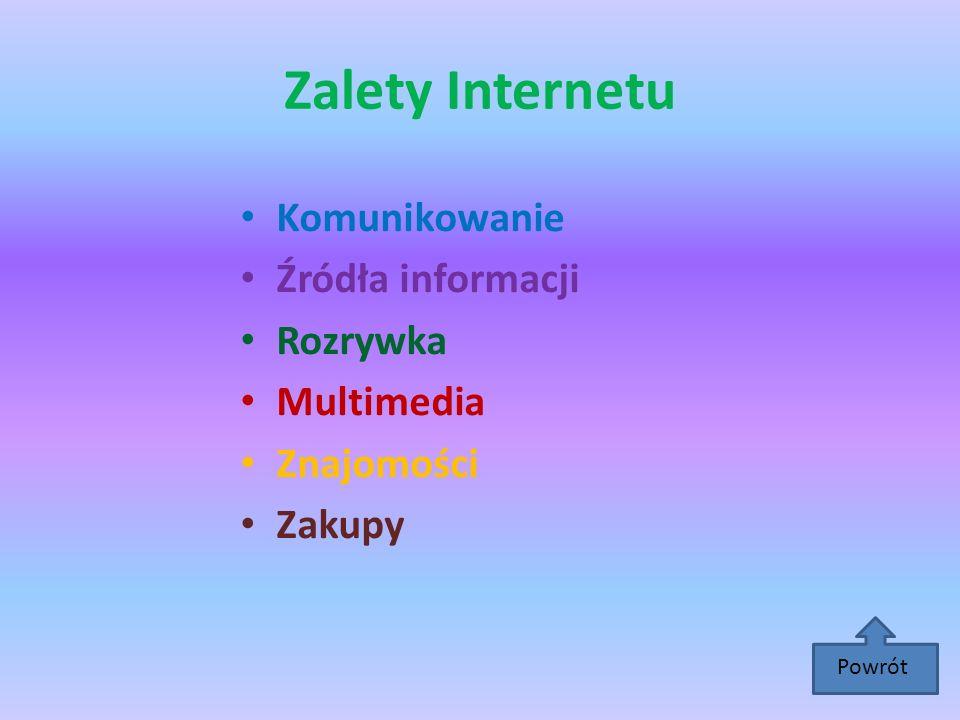 Zalety Internetu Komunikowanie Źródła informacji Rozrywka Multimedia