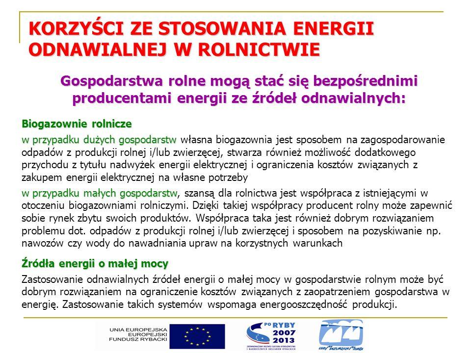 KORZYŚCI ZE STOSOWANIA ENERGII ODNAWIALNEJ W ROLNICTWIE