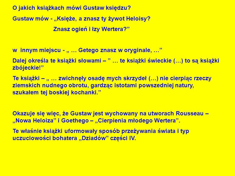 O jakich książkach mówi Gustaw księdzu