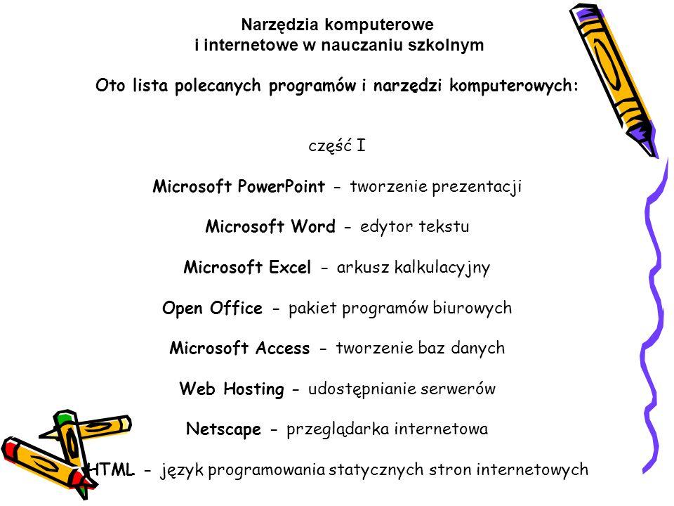 Narzędzia komputerowe i internetowe w nauczaniu szkolnym