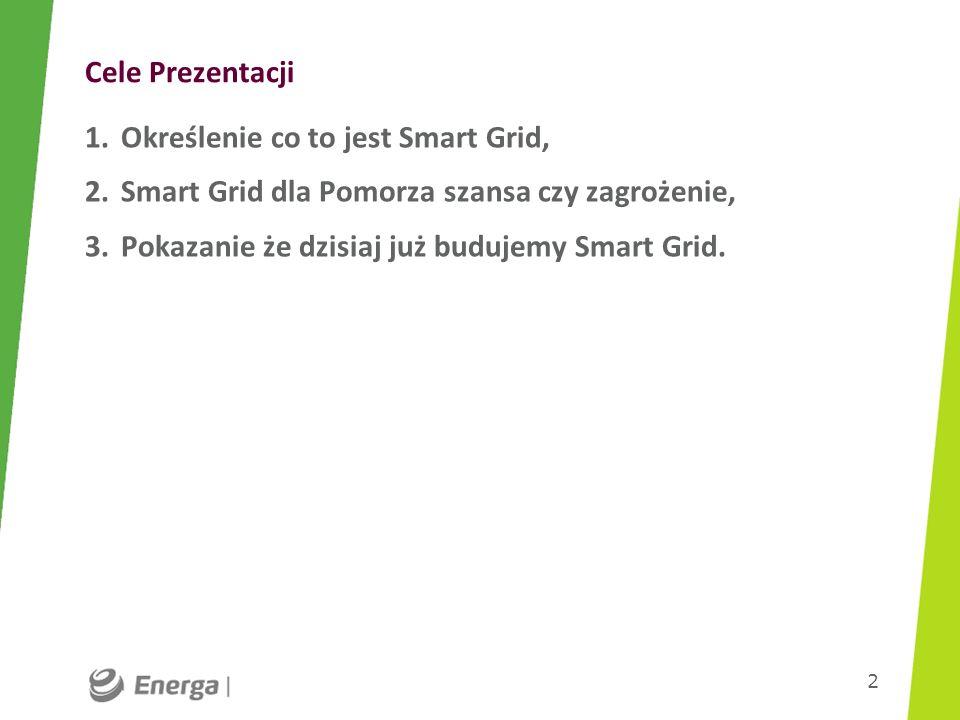 Cele Prezentacji Określenie co to jest Smart Grid, Smart Grid dla Pomorza szansa czy zagrożenie, Pokazanie że dzisiaj już budujemy Smart Grid.