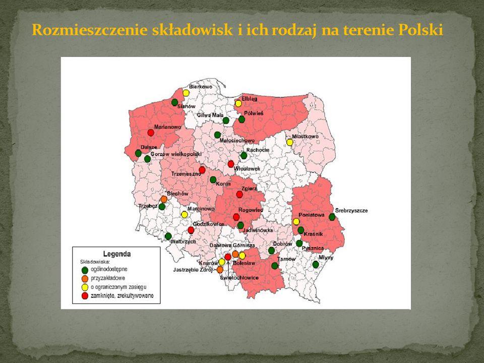 Rozmieszczenie składowisk i ich rodzaj na terenie Polski