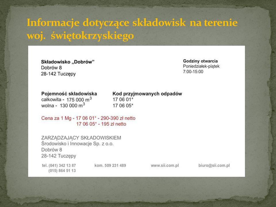 Informacje dotyczące składowisk na terenie woj. świętokrzyskiego