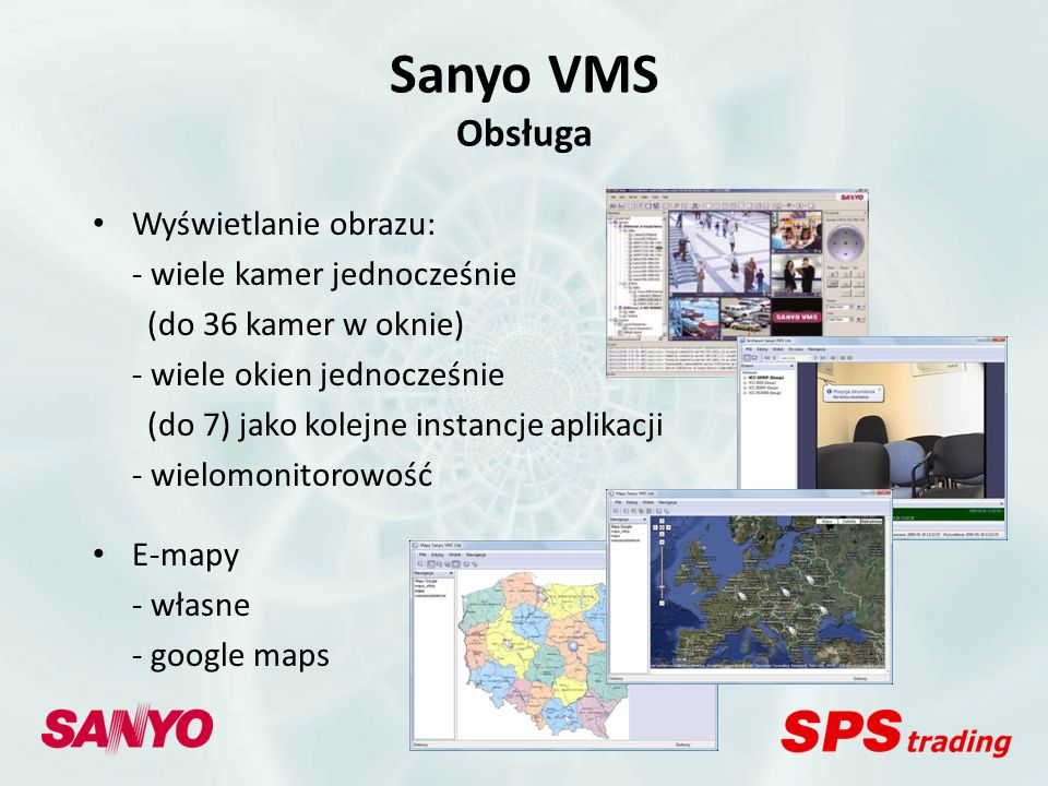 Sanyo VMS Obsługa Wyświetlanie obrazu: - wiele kamer jednocześnie