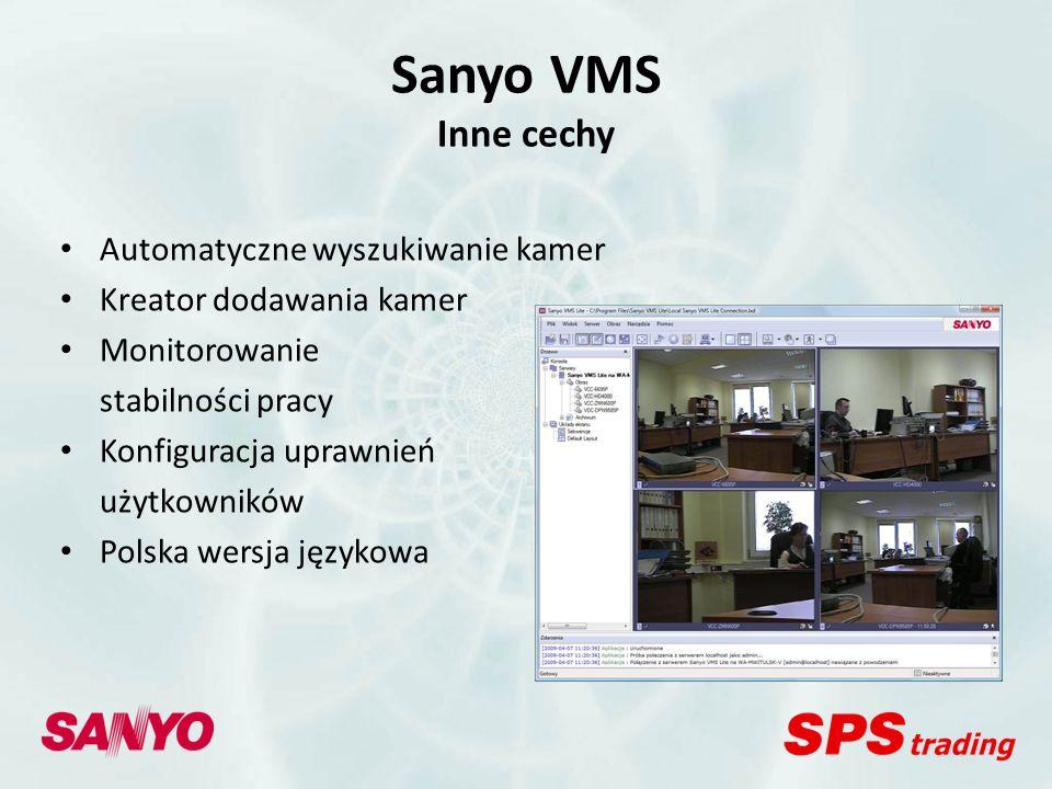 Sanyo VMS Inne cechy Automatyczne wyszukiwanie kamer
