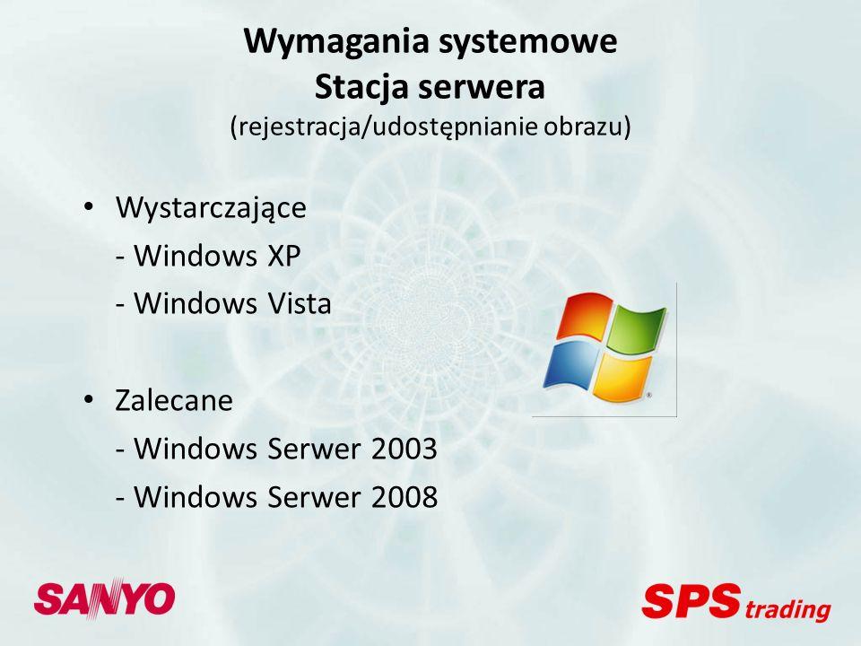 Wymagania systemowe Stacja serwera (rejestracja/udostępnianie obrazu)