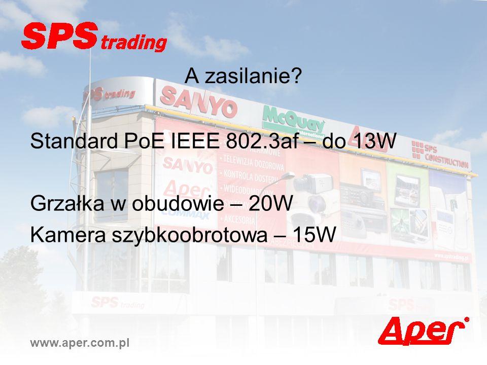 Standard PoE IEEE 802.3af – do 13W Grzałka w obudowie – 20W