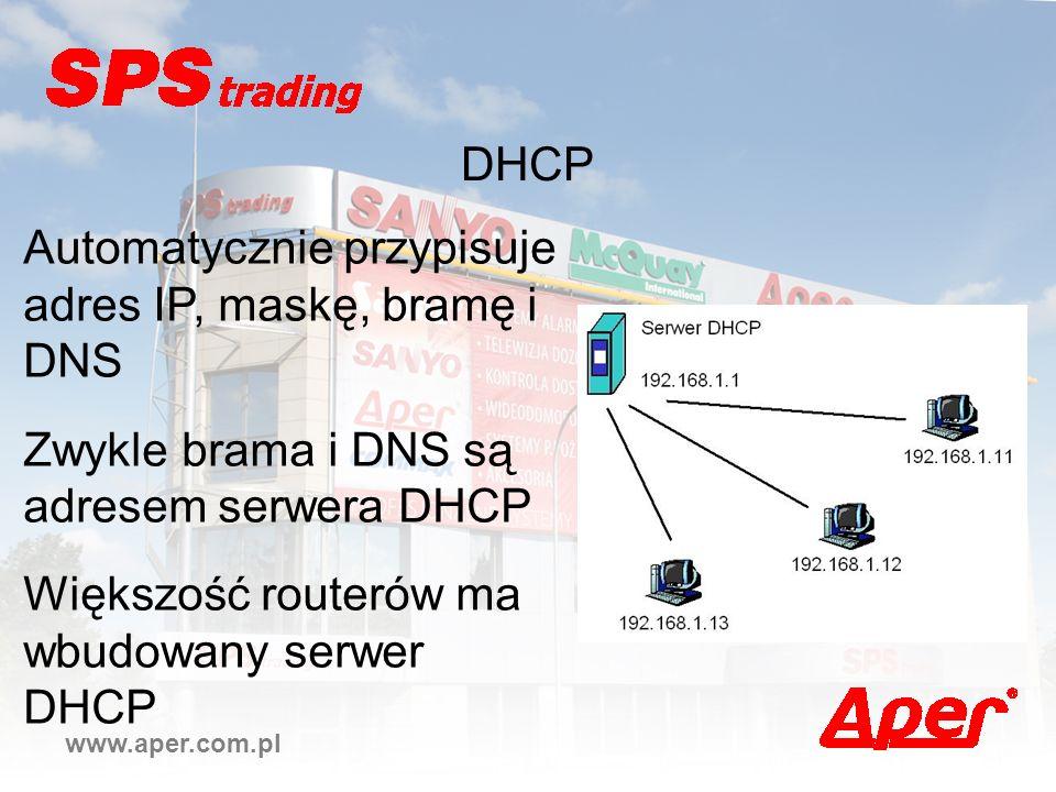 Automatycznie przypisuje adres IP, maskę, bramę i DNS