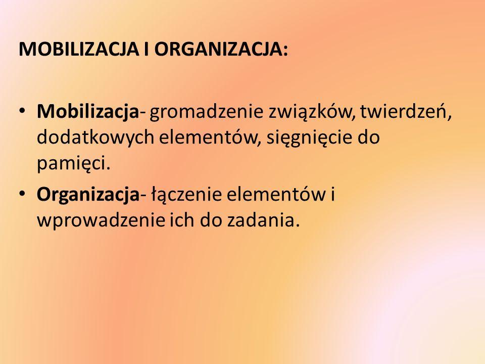 MOBILIZACJA I ORGANIZACJA: