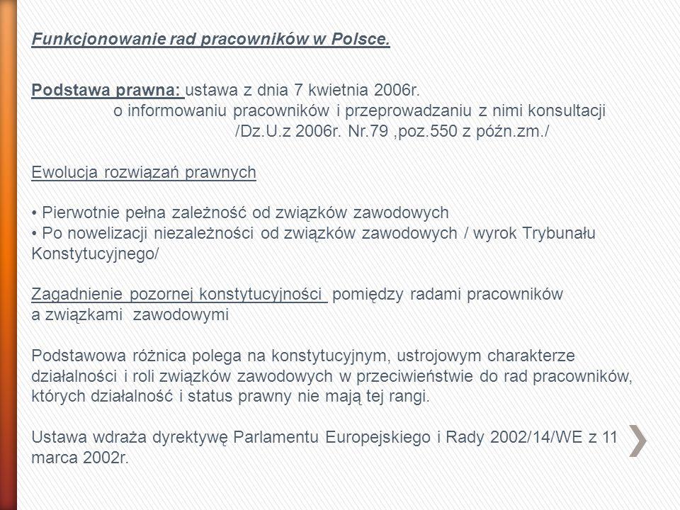 Funkcjonowanie rad pracowników w Polsce.