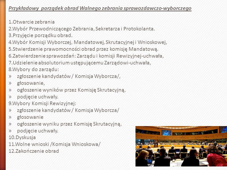 Przykładowy porządek obrad Walnego zebrania sprawozdawczo-wyborczego