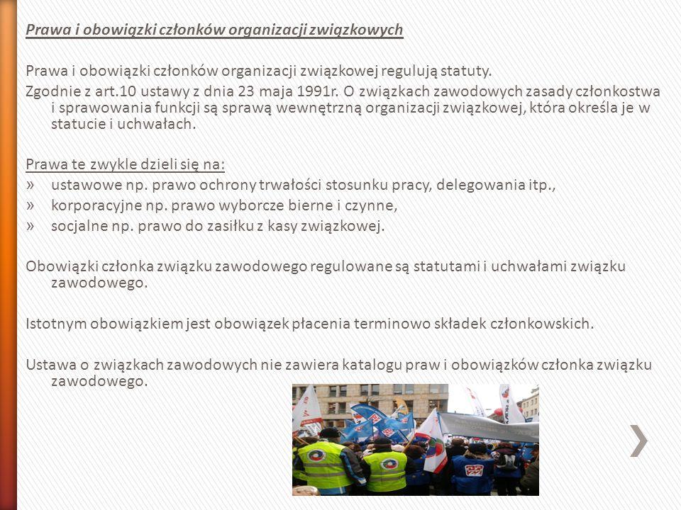 Prawa i obowiązki członków organizacji związkowych