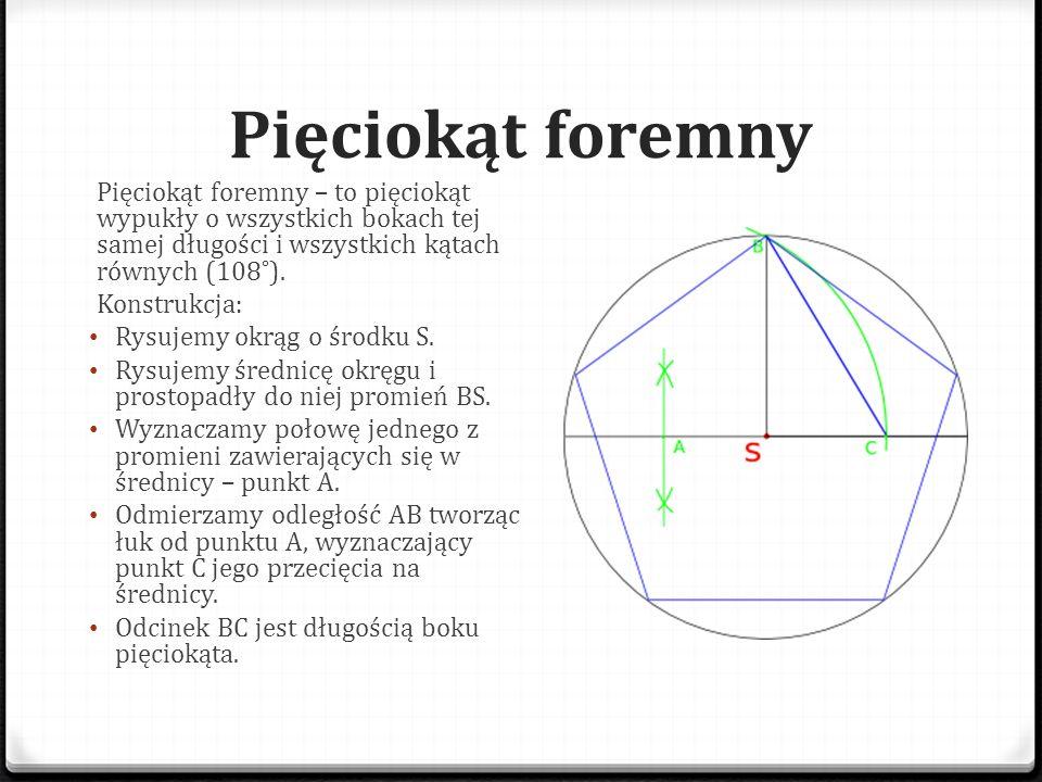 Pięciokąt foremny Pięciokąt foremny – to pięciokąt wypukły o wszystkich bokach tej samej długości i wszystkich kątach równych (108˚).