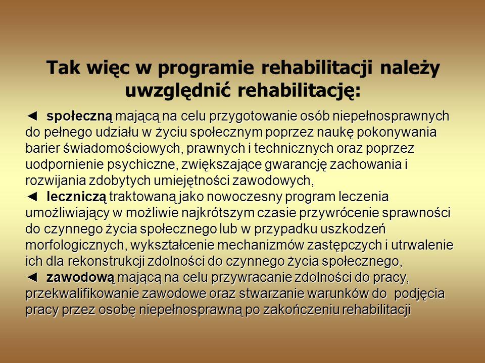 Tak więc w programie rehabilitacji należy uwzględnić rehabilitację: