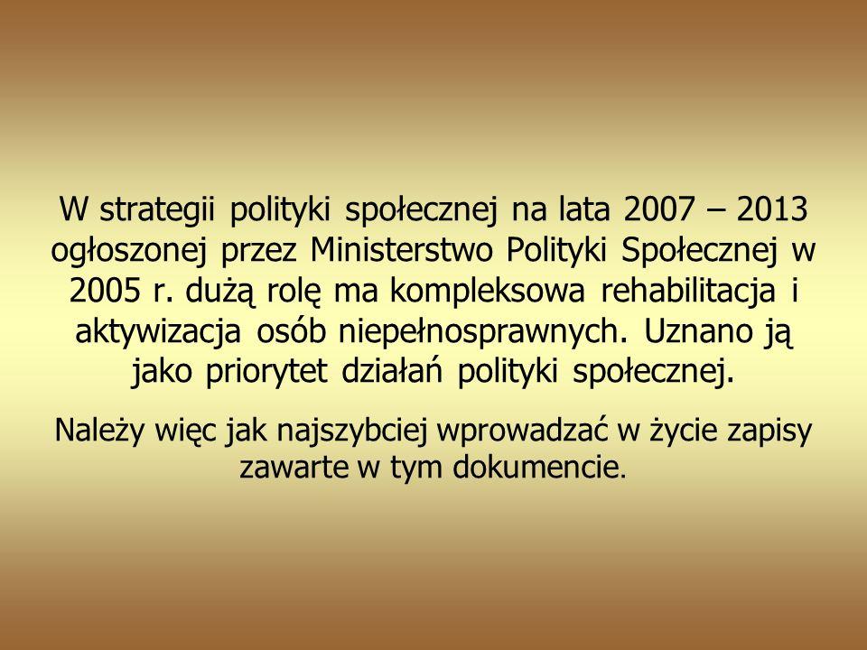 W strategii polityki społecznej na lata 2007 – 2013 ogłoszonej przez Ministerstwo Polityki Społecznej w 2005 r.