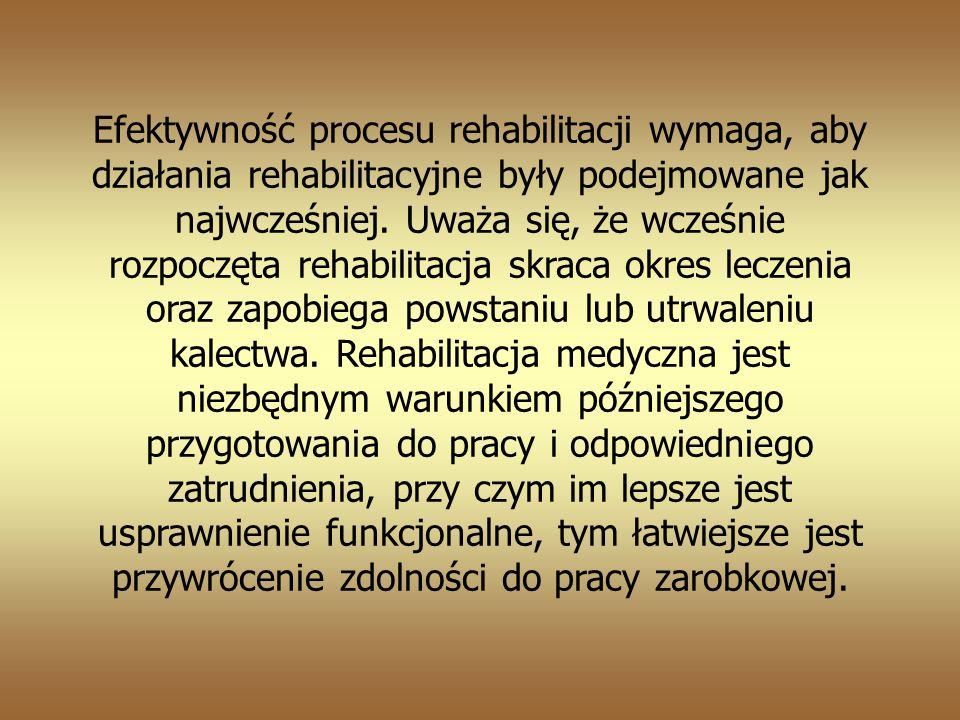 Efektywność procesu rehabilitacji wymaga, aby działania rehabilitacyjne były podejmowane jak najwcześniej.