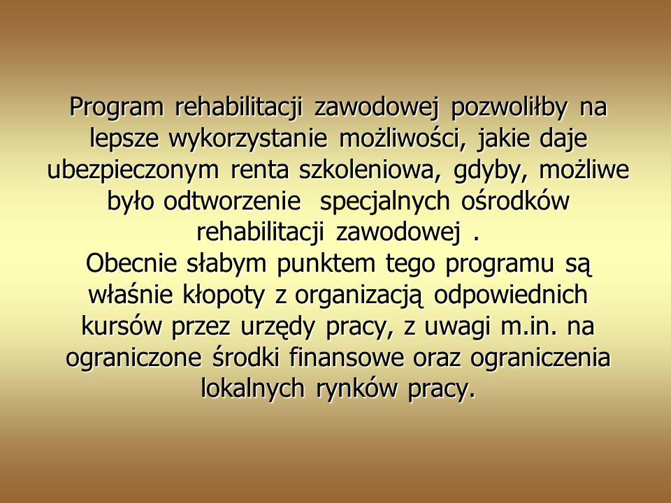 Program rehabilitacji zawodowej pozwoliłby na lepsze wykorzystanie możliwości, jakie daje ubezpieczonym renta szkoleniowa, gdyby, możliwe było odtworzenie specjalnych ośrodków rehabilitacji zawodowej .
