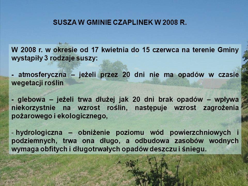 SUSZA W GMINIE CZAPLINEK W 2008 R.