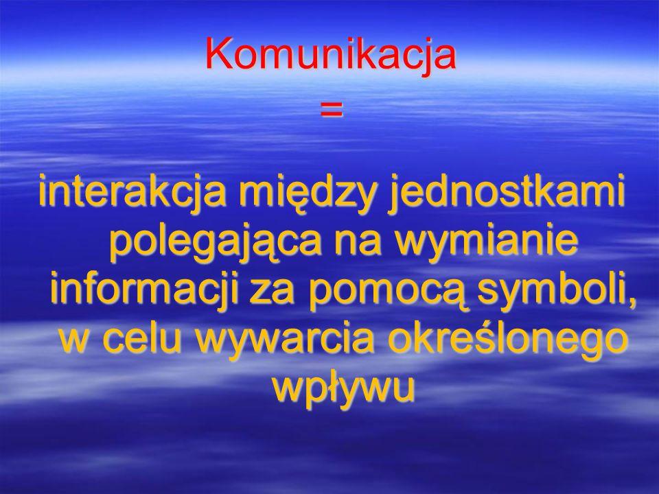 Komunikacja = interakcja między jednostkami polegająca na wymianie informacji za pomocą symboli, w celu wywarcia określonego wpływu.