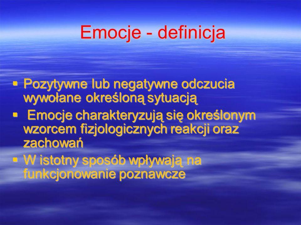 Emocje - definicja Pozytywne lub negatywne odczucia wywołane określoną sytuacją.