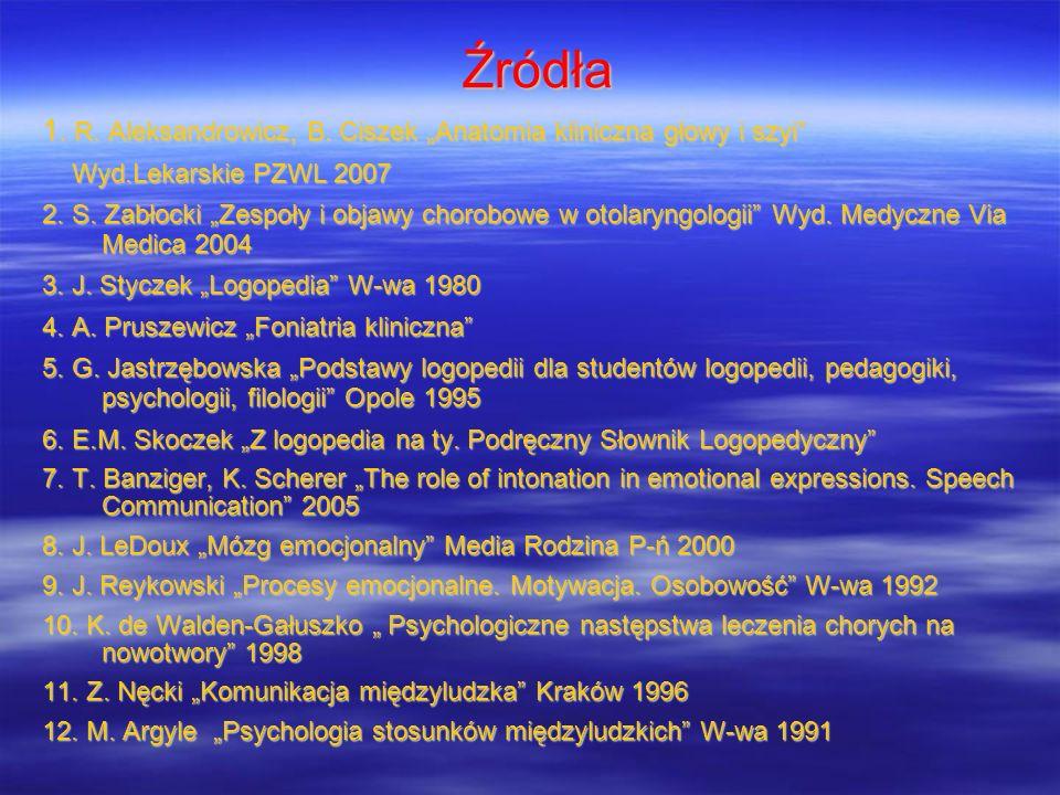 """Źródła 1. R. Aleksandrowicz, B. Ciszek """"Anatomia kliniczna głowy i szyi Wyd.Lekarskie PZWL 2007."""