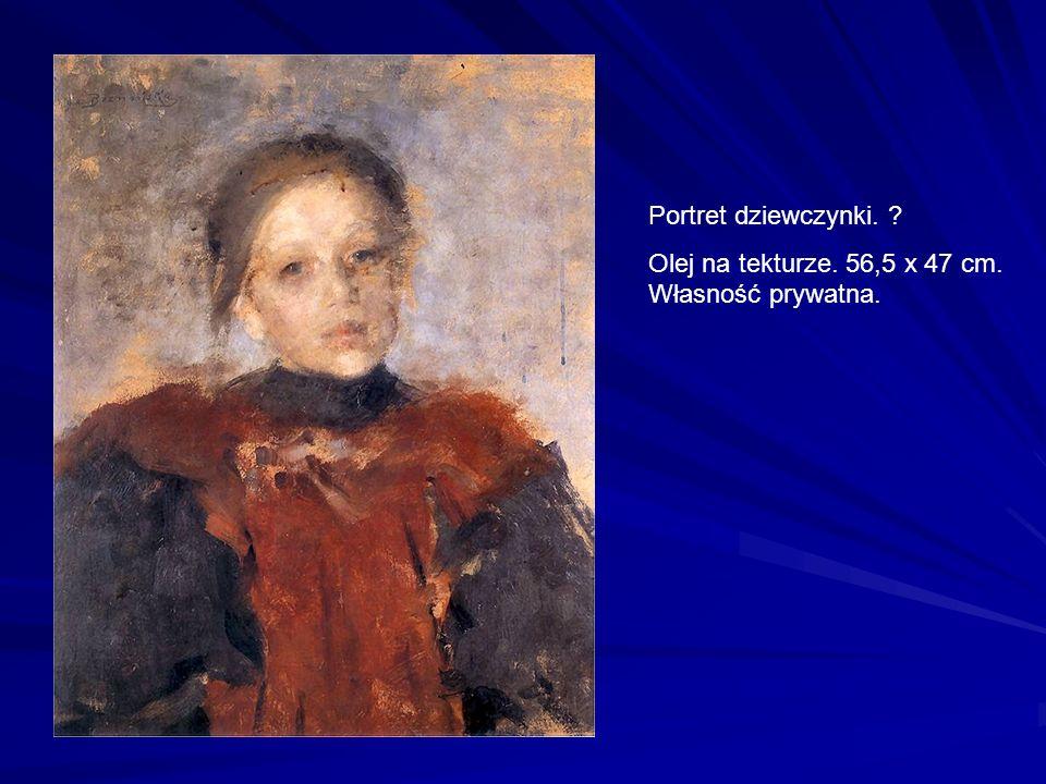 Portret dziewczynki. Olej na tekturze. 56,5 x 47 cm. Własność prywatna.