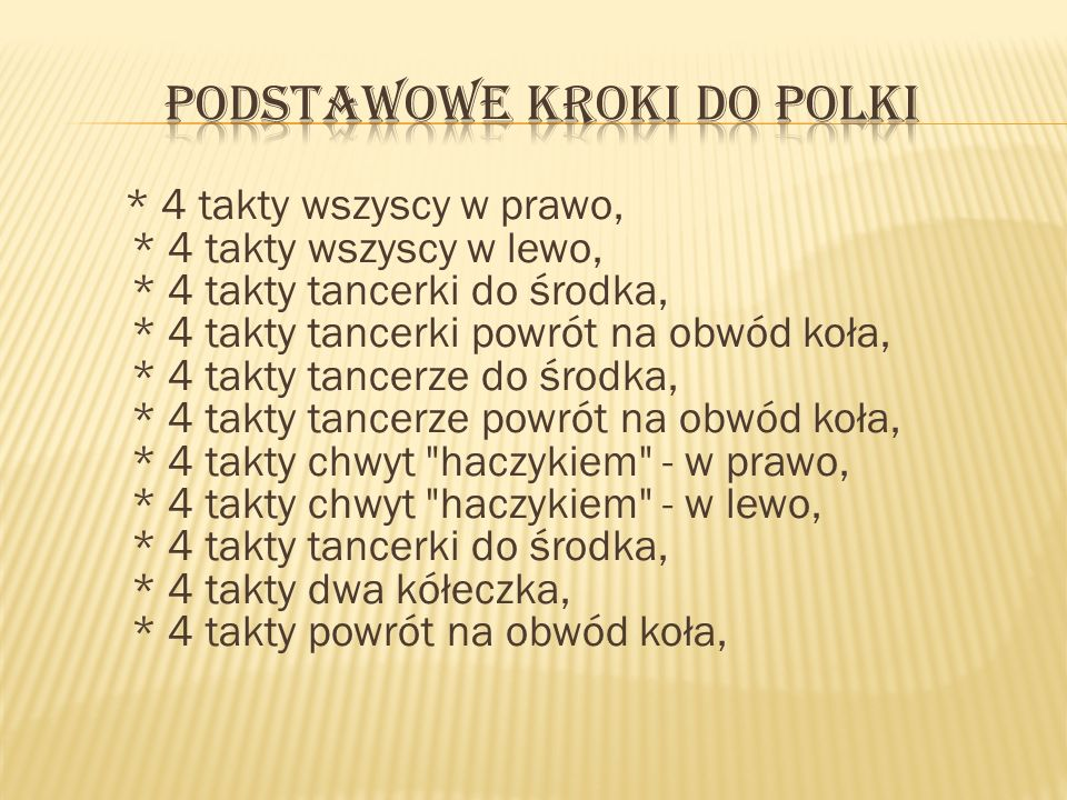 Podstawowe kroki do Polki