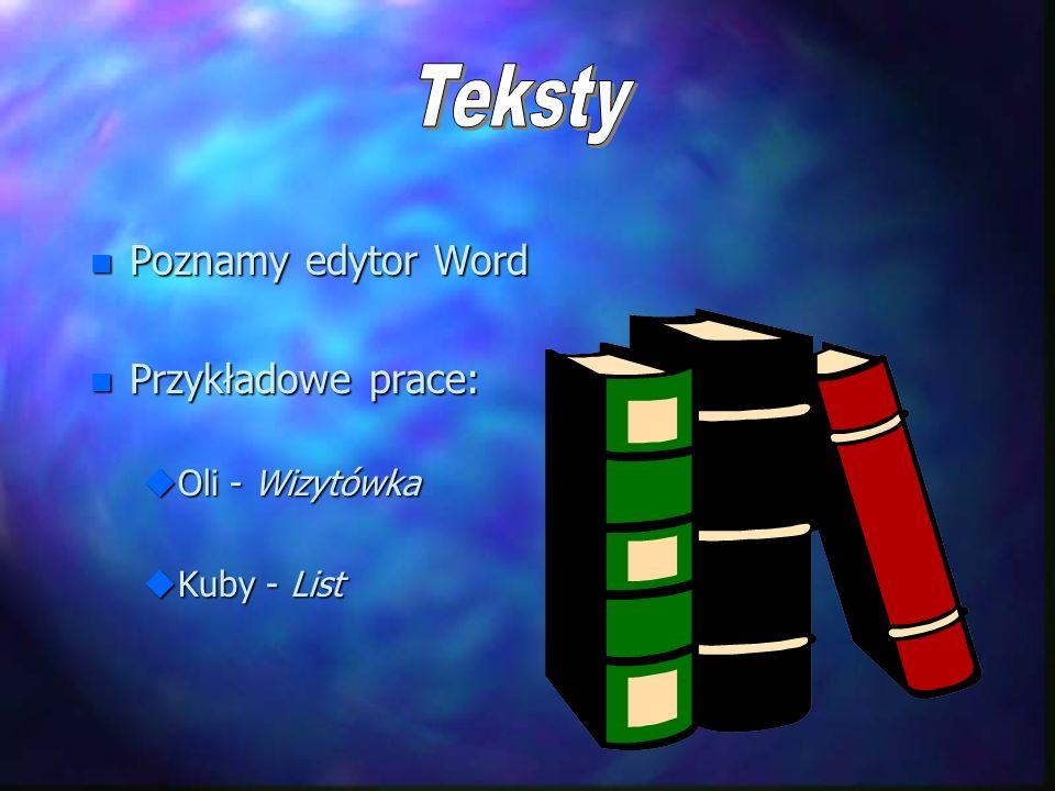 Teksty Poznamy edytor Word Przykładowe prace: Oli - Wizytówka