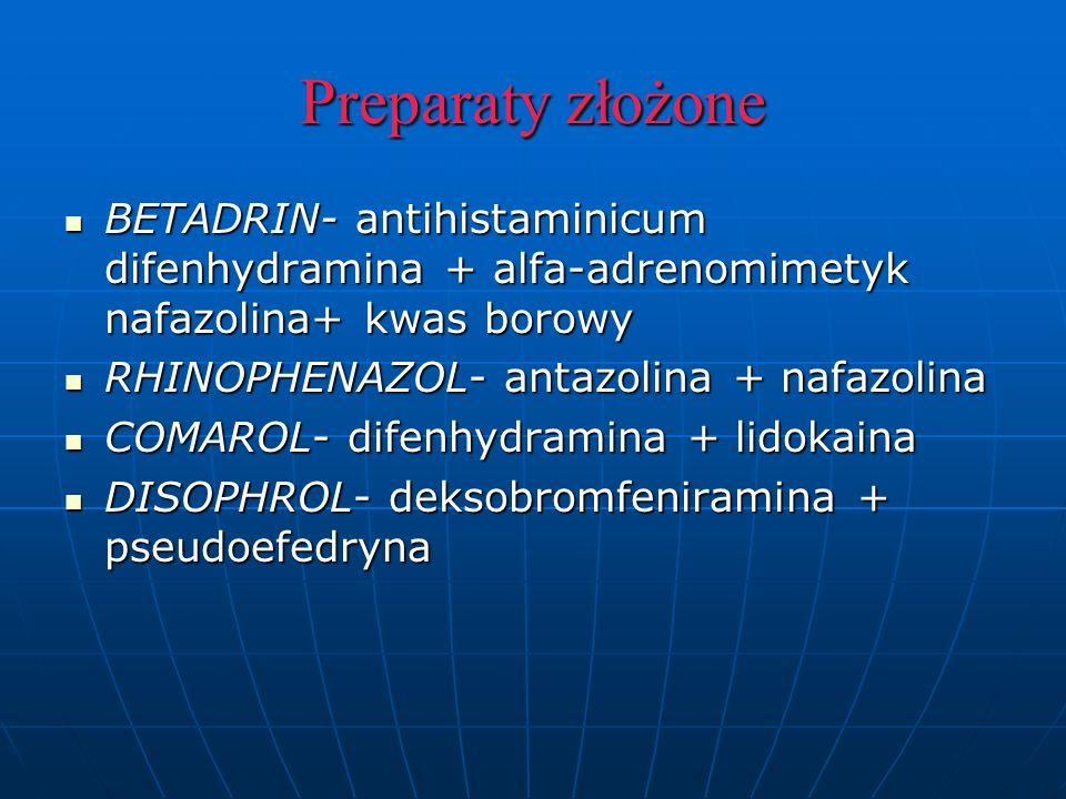 Preparaty złożone BETADRIN- antihistaminicum difenhydramina + alfa-adrenomimetyk nafazolina+ kwas borowy.